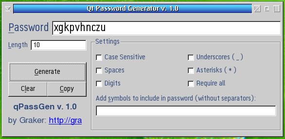 Qt Password Generator | eCSoft/2